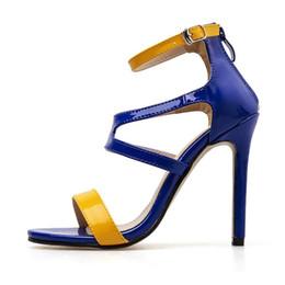 $enCountryForm.capitalKeyWord Australia - wholesale Designer PU Leather Womens Sandals Ankle Strap Color Mashup High Heel Sandales Talon Femme Sexy Sandalias Mujer 2019