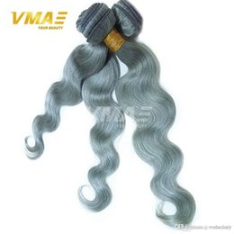 $enCountryForm.capitalKeyWord Australia - Silver Gray Brazilian Virgin Human Hair 100% Unprocessed Virgin Human VMAE Hair Extensions Body Wave Gray Hair Bundles 3pcs lot