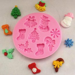 christmas fondant Australia - Free Shipping beautiful Christmas silicone mold Fondant Cake Tools Silicone Cake Mold for children like cook