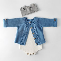 Cotton Cardigans For Girls Australia - Knitted Newborn Clothes 100% Cotton Girls Romper Baby Sweater For Girl Boys Cardigan J190524