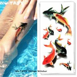 $enCountryForm.capitalKeyWord Australia - Nu-TATY Koi Carp Fish 3d Temporary Tattoo Body Art Flash Tattoo Stickers 19*9cm Waterproof Styling Tatoo Home Decor Wall Sticker