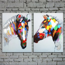 $enCountryForm.capitalKeyWord Australia - Caesar hand painted oil painting modern oil painting on canvas abstract painting Color horse cheap modern paintings AN-102