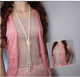 $enCountryForm.capitalKeyWord Australia - Korean fashion Long pearl tassel necklace wholesale artificial pearl pendant Knotted tied design necklace Trendy women jewelry gift