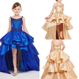 $enCountryForm.capitalKeyWord Australia - Royal Blue Gold Crystal Straps Hi Lo Girls Pageant Dresses Three Layers Beaded Satin Dream Flower Girl Dress For Wedding Girls Birthday Gown