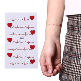3dd30b777 New Ecg Temporary Tattoo Men And Women Love Tattoos Sexy Products  Waterproof Disposable Tattoo Stickers To Cover The Scar