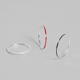 Silver Black Red Australia - 925 Sterling Silver Glossy Women Thin Tail Ring Suit with Black White Red Three Rings
