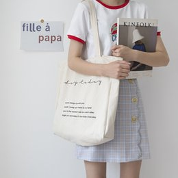 handbag book Australia - Women Canvas Shoulder Bag Day To Day Letters Print Daily Shopping Bags Students Books Bag Cotton Cloth Handbags Tote For Girls