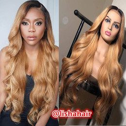$enCountryForm.capitalKeyWord NZ - 1b 27 dark roots body wave Lace Front Wig Glueless Full Lace Wigs Human Hair Ombre Wig two tone Brazilian Virgin Hair