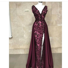 Chinese  2019 Luxury Appliques Beads Maroon Mermaid Evening Dresses Formal Cap Sleeves V Neck Split Detachable Pageant Red Carpet Prom Dress BC1786 manufacturers