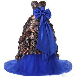 $enCountryForm.capitalKeyWord Australia - Wholesale Printed Ball Gown Camo Satin Wedding Dress Strapless Bow Tie Women Bridal Gowns Royal Blue Belt 2019