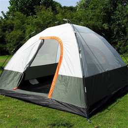 $enCountryForm.capitalKeyWord NZ - Wholesale-3 Person 200*200*130cm Double Layer Weather Resistant Outdoor Camping Tent for Fishing Hunting Adventure and Family Party