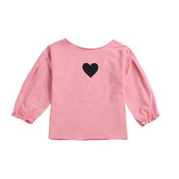 Wholesale heart print blouses online – Girls Puff Sleeve Shirts Golden Five pointed Star Pattern T Shirt Kids Heart Shaped Printed Shirt Long Sleeve Top