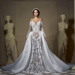 Wholesale long tailed t shirts online – Off Shoulder Long Sleeves Wedding Dress Mermaid Detachable Tail Bridal Gown Lace Appliques Sweetheart Illusion Back Button