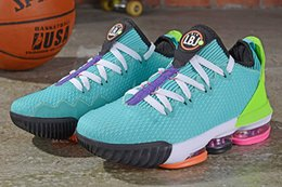 basketball miami NZ - Mens lebron 16 low basketball shoes South Beach Blue Green Miami Christmas Girls Boys kids new lebrons 16 sneakers