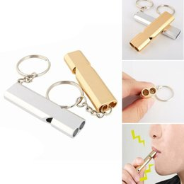 $enCountryForm.capitalKeyWord Australia - Whistle Key Rings Aluminum Alloy Pendant Survival EDC Tools Keychain Double-frequency Gold Sliver Emergency EDC Molle CNY1260