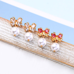 $enCountryForm.capitalKeyWord Australia - Unique Shiny Zircon Butterfly Glass Pearl Stud Earrings For Women Gifts New Fashion Gold Color Brass Jewelry Accessories