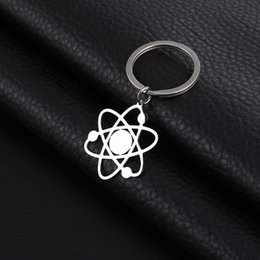 chemistry jewelry Canada - SKYRIM The Bigbang Theory Atom Key Chain Women Men Stainless Steel Physics Chemistry Science Pendant Keyring Holder Jewelry Gift