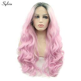 Color Hair Pastels Australia - Body Wave Wig Long Synthetic Hair For Women Peluca Cosplay Pastel Color Pink Ombre Lace Front Wig High Temperature Fiber
