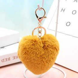 red roses baby dress UK - Fashion simple fashion red love heart-shaped plush keychain Couple hair ball bag pendant car accessories hot sale