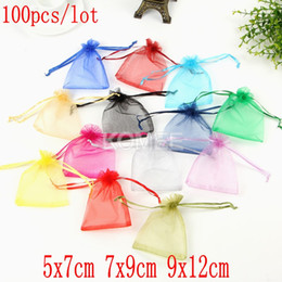 Pack Supplies Australia - 100ps lot 5x7cm 7X9cm 9X12cm Bracelet Jewelry Gift Organza Bags Wedding Candy Pouches Party Decoration Crafts Pack Supplies