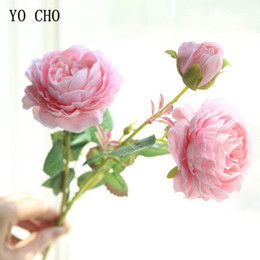 $enCountryForm.capitalKeyWord NZ - Yo Cho Rose Artificial Flowers 3 Heads Pink White Peonies Silk Wedding Garden Decoration Fake Flower Bouquet Peony Color C19041702