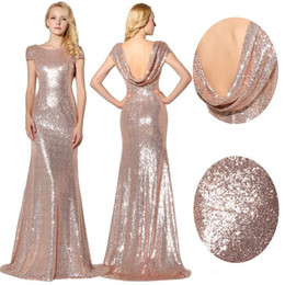 Backless Mermaid Dress Short Sleeve Australia - 2019 Capped Short Sleeves Sequins Mermaid Evening Dresses Sexy Backless Maid of Honor Long Prom Party Gowns