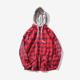 urban hip hop shirts UK - Japanese Harajuku Plaid Hooded Long Sleeve Shirt for Men Urban Boys Hip Hop Button Up Checkered Shirts with Hood Plus Size S-XL