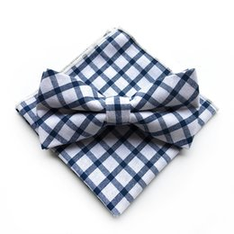 Quality Bowties Australia - Fashion Blue White High Quality Cotton Mens Bowties and Pocket Squares Handkerchief Bowtie Set Wedding Party Pocket Square