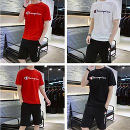 Brands t shirts Boys online shopping - Champion Men Outfits Brand Designer t shirt Shorts Suit Mens t shirt and Shorts Set Summer Shorts Tracksuits Gym Casual Clothing XL C71603