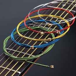 Steel acouStic online shopping - Acoustic Guitar Strings set A407 set Multi Coloured Rainbow Colourful Acoustic Wound Guitar String Steel