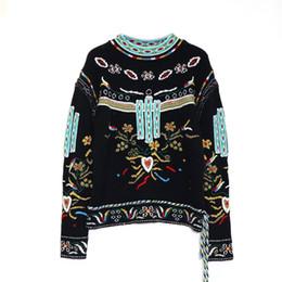 $enCountryForm.capitalKeyWord Australia - Goodlishowsi 2019 Vintage India Folk Ethnic Women Sweater Flowers Embroidery Print O-Neck Full Pullovers Top Loose Lady Knitwear