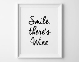 funny frames Australia - (No Frame) Smile There's Wine Wall Art Black and White Typography Poster Funny Quotes Canvas Print Minimalist Print Home Decor Living Room D