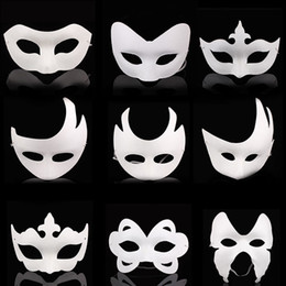 Adult white blAnk fAce mAsk online shopping - DIY hand masks paper mask painted Halloween white face mask crown butterfly blank masquerade cosplay blan kid draw party masks props FFA2609