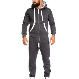 Foot Jumpsuits Australia - 2019 Fashion Tracksuit Sport Men Men's Unisex Jumpsuit One-piece garment Non Footed Pajama Playsuit Blouse Hoodie Running Sets