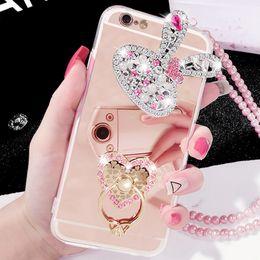 $enCountryForm.capitalKeyWord NZ - Luxury Diamond Soft Rubber Crystal Rhinestone Glitter Mirror Case Flower Heart Finger Ring For iphoneX XS MAX XR 5S 6S 7 8 PLUS