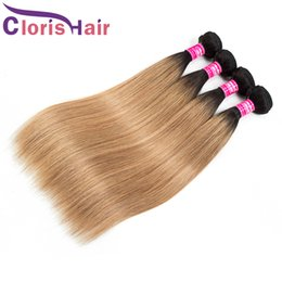 mixed blonde ombre hair extensions Australia - Selected Blonde Colored Malaysian Virgin Human Hair Weave Bundles Mixed 3pcs Dark Roots 1B 27 Silky Straight Honey Blonde Ombre Extensions