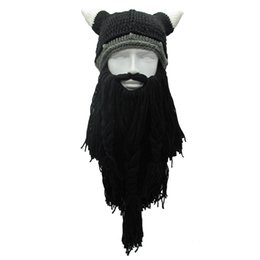 Chinese  Handmade Winter Warm Cap Men's Barbarian Vagabond Viking Long Beard Beanie Horn Hats Funny Xmas Halloween Birthday Cool Gifts manufacturers