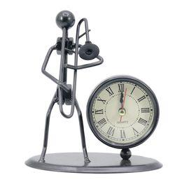 $enCountryForm.capitalKeyWord NZ - Classic Vintage Old Fashion Iron Art Musician Clock Figure Ornament For Home Office Desk Decoration Gift Trombone