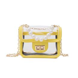 Kids Plain Yellow Backpack Australia - Korean girls kids bags pearl kids handbags clear girls beach bags Childrens mini backpack Shoulder Bags Messenger Bag kids purses A4804