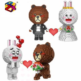 block brown Australia - Small Particles Puzzle Creative Kids Spell Insert Toys Building Block Flowers Loving Heart Lovers Brown Bear Wedding Rabbit Series Toy Brick