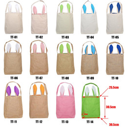 Cloth Materials Australia - 2019 Easter Bunny Bag for Egg Hunts Burlap Easter Basket Tote Handbag 14 Colors Dual Layer Bunny Ears Design with Jute Cloth Material