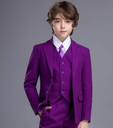 Formal vest boys online shopping - Purple Boys Formal OccasionTuxedos Notch Lapel Two Button Kids Wedding Tuxedos Child Suit Holiday clothes Jacket Pants Tie Vest