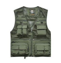 pockets photography vest Australia - Newest Men'S Large Size Casual Multi-Pockets Photography Fish Mesh Breathable Vest Male Leisure V Neck Waistcoats M 4Xl J3144