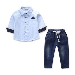 d0287b6b324bb Toddler Kid Baby Boy Clothes Sets Shirt Tops Long Sleeve Denim Pants Autumn  Spring Formal Outfits Set Clothes Boys 2-8T