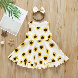 $enCountryForm.capitalKeyWord Australia - Summer Casual Baby Girl Cute Dresses Sunflower Sleeveless Princess Dress And Headband Kit Fashion Baby & Toddler Clothing