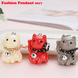 Christmas Gift Lover Australia - Mini Acrylic Lucky Cat Car Keychain Bell Christmas New Year Gifts White Boyfriend Keychain Lovers Jewelry 2019 New Fashion