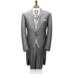 $enCountryForm.capitalKeyWord NZ - Custom Made New Morning Style Groom Tuxedos Light Grey Best man Peak Lapel Groomsman Men Wedding Suits Bridegroom(Jacket+Pants+Tie+Vest)J463