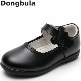 Dancing Shoes For Kids Australia - New Girls Princess Leather Shoes For Black Kids Dress Shoes School Flat Breathable For Princess Student Party Dancing