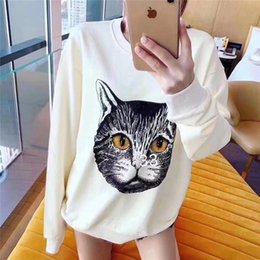 korean style fashion hoodies NZ - luxury designer womens hoodies white sweatshirts with print cat long sleave Korean style fashion casual cloth