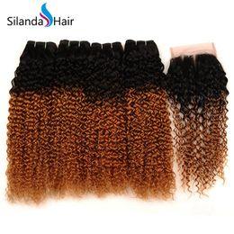 $enCountryForm.capitalKeyWord Australia - Silanda Hair Fashion Ombre Color #T 1B 30 Jerry Curly Brazilian Remy Human Hair Bundles With 4x4 Lace Closure Free Shipping